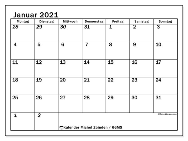 Kalender Januar 2021, 66MS. Monatskalender zum kostenlosen ausdrucken.