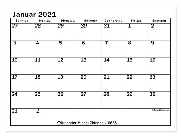 Kalender Januar 2021, 66SS. Kostenloser Planer zum ausdrucken.