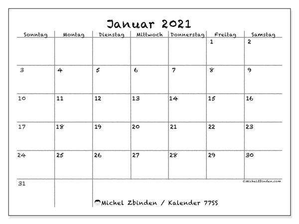 Kalender Januar 2021, 77SS. Kostenloser Zeitplan zum ausdrucken.