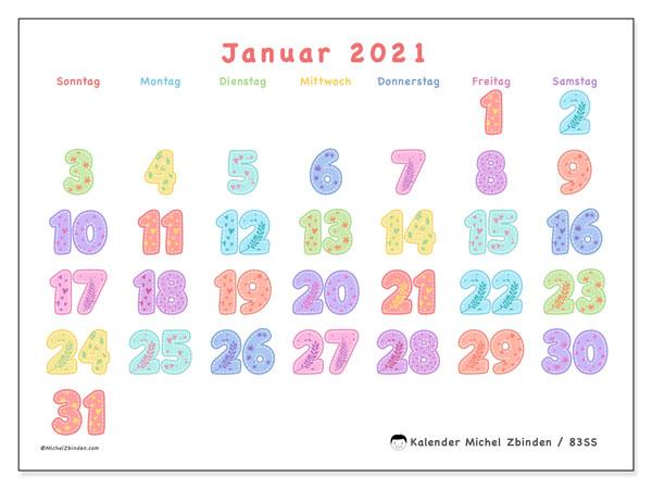 Kalender Januar 2021, 83SS. Kostenloser Planer zum ausdrucken.