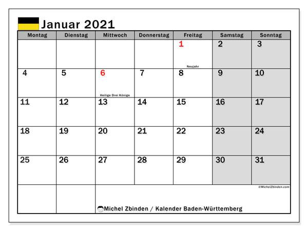 Kalender Januar 2021, mit den Feiertagen in Baden-Württemberg. Kalender mit Feiertagen zum kostenlosen ausdrucken.
