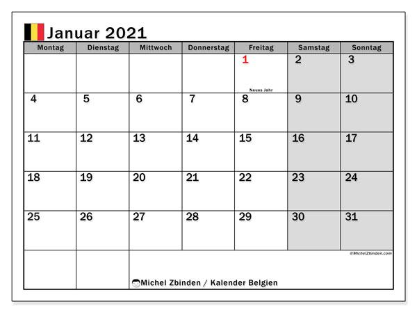 Kalender Januar 2021, mit den Feiertagen von Belgien. Kalender Feiertage frei zum ausdrucken.