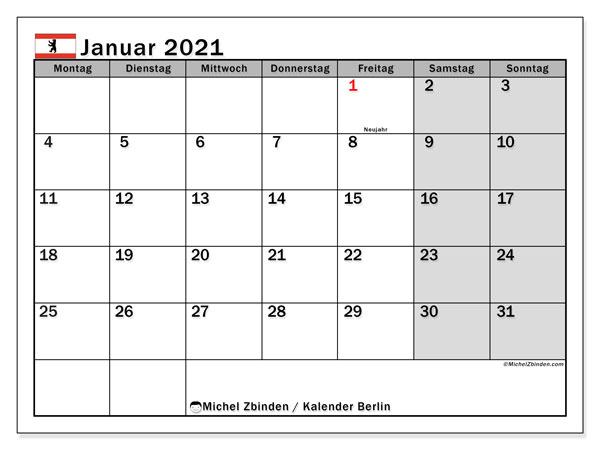 Kalender Januar 2021, mit den Feiertagen in Berlin. Kalender Feiertage frei zum ausdrucken.