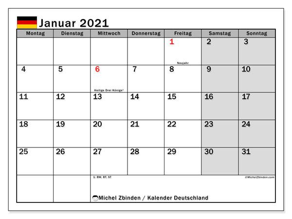 Kalender Januar 2021, mit den Feiertagen Deutschlands. Kalender Feiertage frei zum ausdrucken.