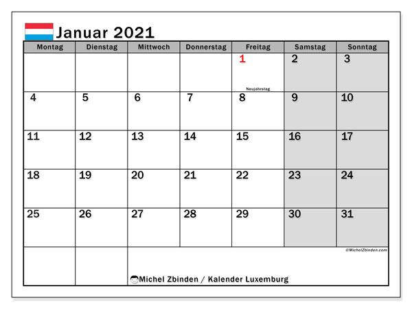 Kalender Januar 2021, mit den Feiertagen in Luxemburg. Kalender Feiertage frei zum ausdrucken.