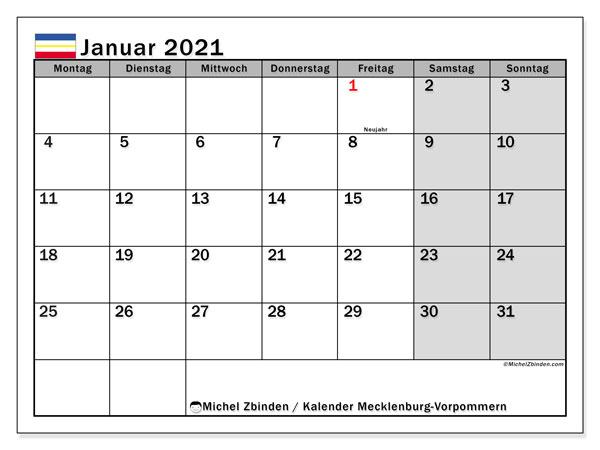 Kalender Januar 2021, mit den Feiertagen in Mecklenburg-Vorpommern. Kalender Feiertage frei zum ausdrucken.