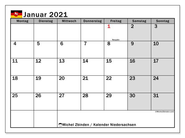 Kalender Januar 2021, mit den Feiertagen in Niedersachsen. Kalender Feiertage frei zum ausdrucken.