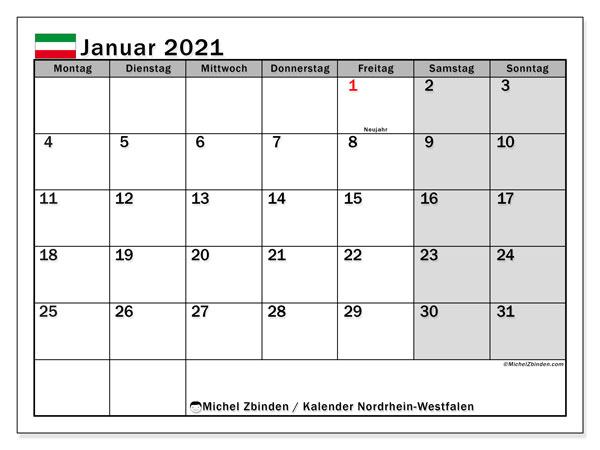 Kalender Januar 2021, mit den Feiertagen in Nordrhein-Westfalen. Kalender Feiertage frei zum ausdrucken.