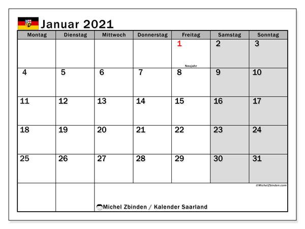 Kalender Januar 2021, mit den Feiertagen des Saarlandes. Kalender mit Feiertagen zum kostenlosen ausdrucken.