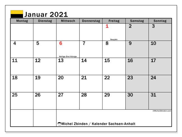 Kalender Januar 2021, mit den Feiertagen in Sachsen-Anhalt. Kalender Feiertage frei zum ausdrucken.