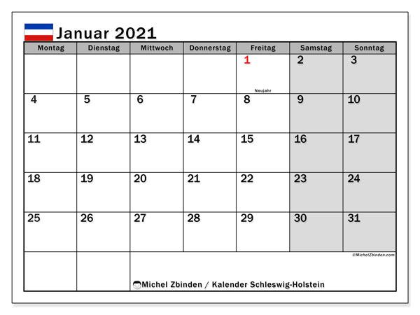 Kalender Januar 2021, mit den Feiertagen in Schleswig-Holstein. Kalender Feiertage frei zum ausdrucken.