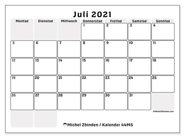 Kalender Juli 2021, 44MS. Monatlicher Zeitplan zum kostenlosen ausdrucken.