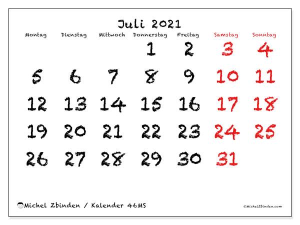 Kalender Juli 2021, 46MS. Kostenloser Zeitplan zum ausdrucken.