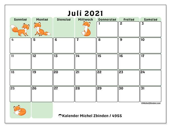 Kalender Juli 2021, 49SS. Kostenlos ausdruckbare Planer.