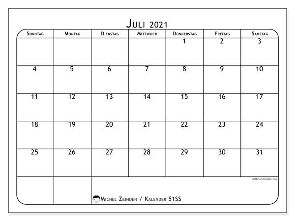 Kalender Juli 2021, 51SS. Monatskalender zum kostenlosen ausdrucken.