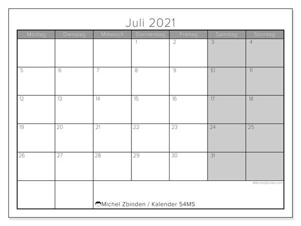 Kalender Juli 2021, 54MS. Kostenloser Kalender zum ausdrucken.