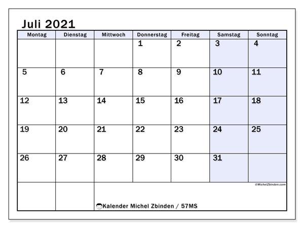 Kalender Juli 2021, 57MS. Kostenlos ausdruckbare Planer.