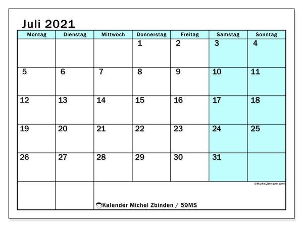 Kalender Juli 2021, 59MS. Planer zum kostenlosen ausdrucken.