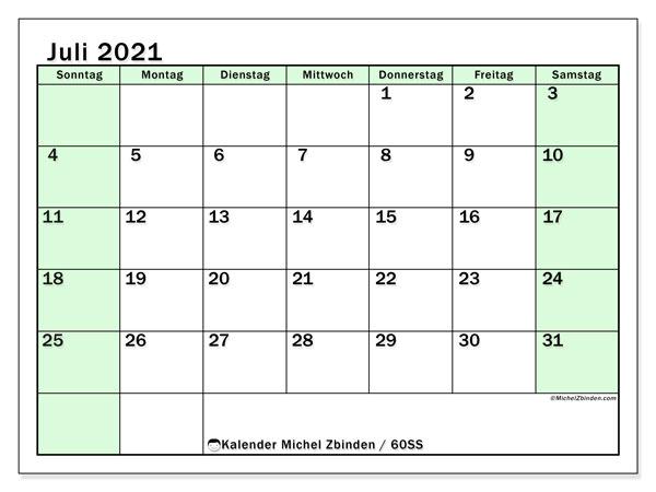 Kalender Juli 2021, 60SS. Kostenloser Zeitplan zum ausdrucken.