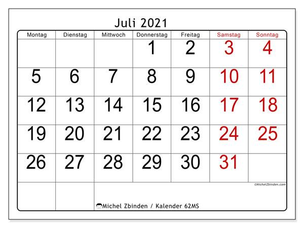 Kalender Juli 2021, 62MS. Kostenloser Kalender zum ausdrucken.