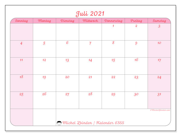 Kalender Juli 2021, 63SS. Kostenlos ausdruckbare Zeitplan.