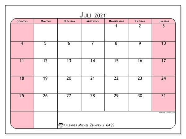 Kalender Juli 2021, 64SS. Kostenloser Kalender zum ausdrucken.