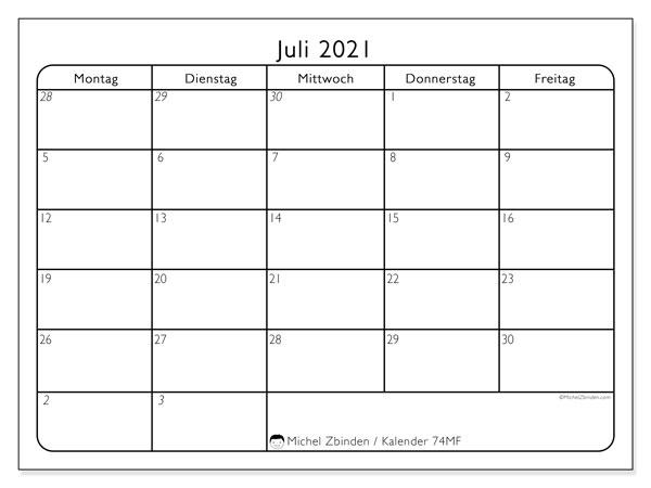 Kalender Juli 2021, 74SS. Kostenloser Zeitplan zum ausdrucken.