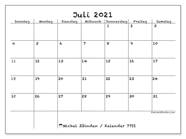 Kalender Juli 2021, 77SS. Zeitplan zum kostenlosen ausdrucken.