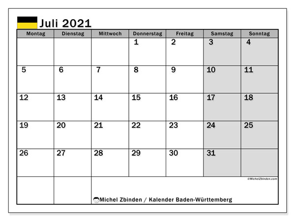 Kalender Juli 2021, mit den Feiertagen in Baden-Württemberg. Kalender Feiertage frei zum ausdrucken.