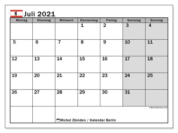 Kalender Juli 2021, mit den Feiertagen in Berlin. Kalender mit Feiertagen zum kostenlosen ausdrucken.