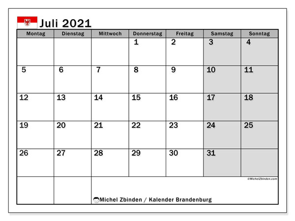 Kalender Juli 2021 - Michel Zbinden DE