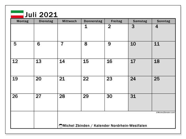 Kalender Juli 2021, mit den Feiertagen in Nordrhein-Westfalen. Kalender mit Feiertagen zum kostenlosen ausdrucken.
