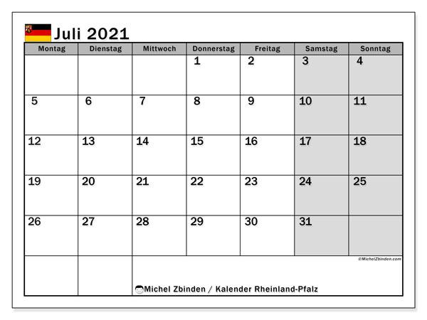 Kalender Juli 2021, mit den Feiertagen in Rheinland-Pfalz. Kalender Feiertage frei zum ausdrucken.
