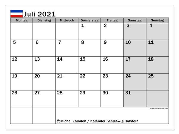 Kalender Juli 2021, mit den Feiertagen in Schleswig-Holstein. Kalender Feiertage frei zum ausdrucken.