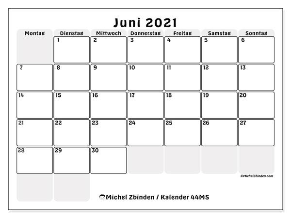 Kalender Juni 2021, 44MS. Kostenloser Planer zum ausdrucken.