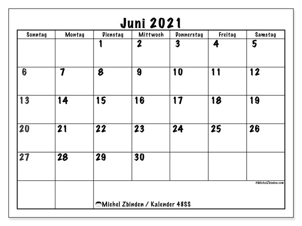 Kalender Juni 2021, 48SS. Kostenloser Planer zum ausdrucken.