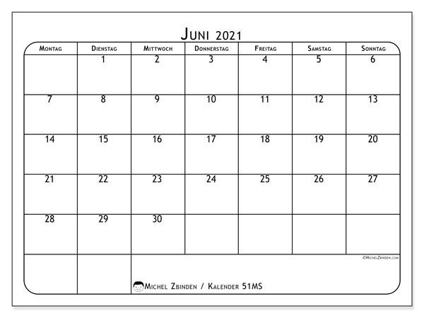 Kalender Juni 2021, 51MS. Monatlicher Zeitplan zum kostenlosen ausdrucken.