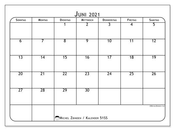 Kalender Juni 2021, 51SS. Kostenloser Planer zum ausdrucken.