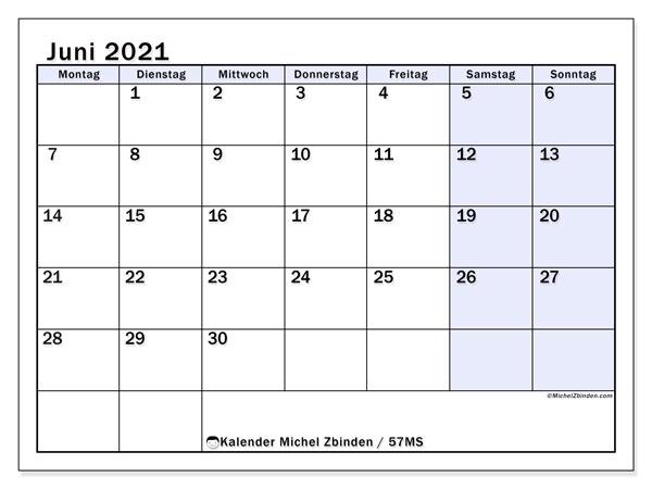 Kalender Juni 2021, 57MS. Monatlicher Zeitplan zum kostenlosen ausdrucken.