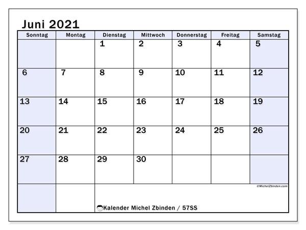 Kalender Juni 2021, 57SS. Monatskalender zum kostenlosen ausdrucken.