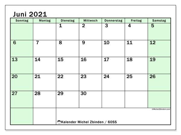 Kalender Juni 2021, 60SS. Kostenloser Kalender zum ausdrucken.