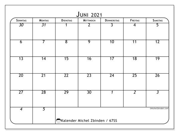 Kalender Juni 2021, 67SS. Monatskalender zum kostenlosen ausdrucken.
