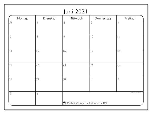 Kalender Juni 2021, 74SS. Kostenloser Zeitplan zum ausdrucken.
