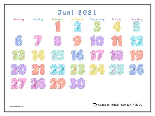 Kalender Juni 2021, 83SS. Monatskalender zum kostenlosen ausdrucken.