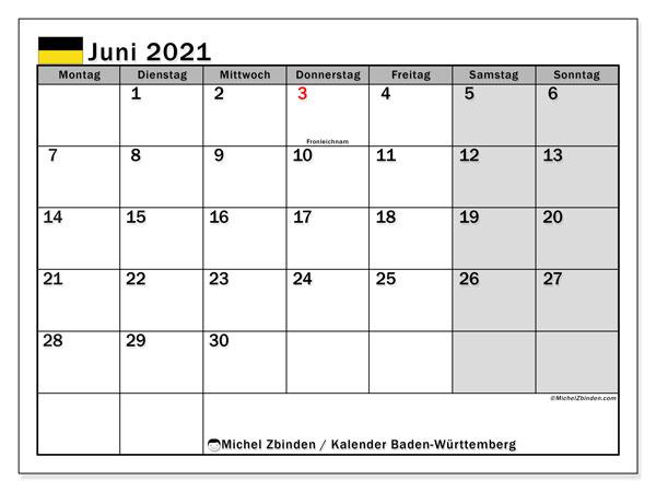 Kalender Juni 2021, mit den Feiertagen in Baden-Württemberg. Kalender Feiertage frei zum ausdrucken.