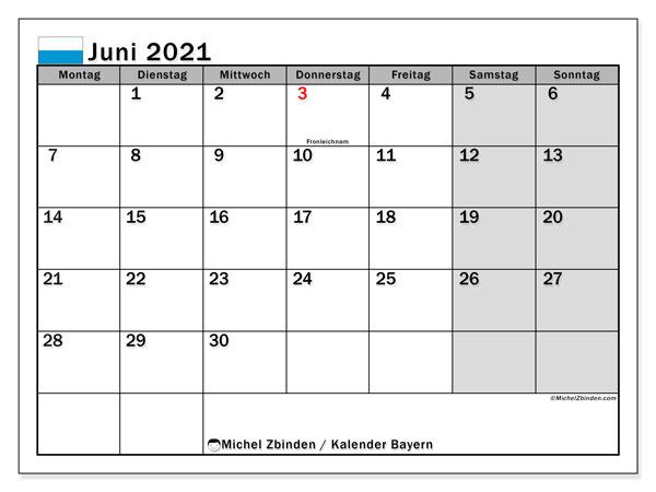 Kalender Juni 2021, mit den Feiertagen von Bayern. Kalender mit Feiertagen zum kostenlosen ausdrucken.