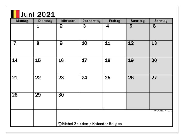 Kalender Juni 2021, mit den Feiertagen von Belgien. Kalender mit Feiertagen zum kostenlosen ausdrucken.
