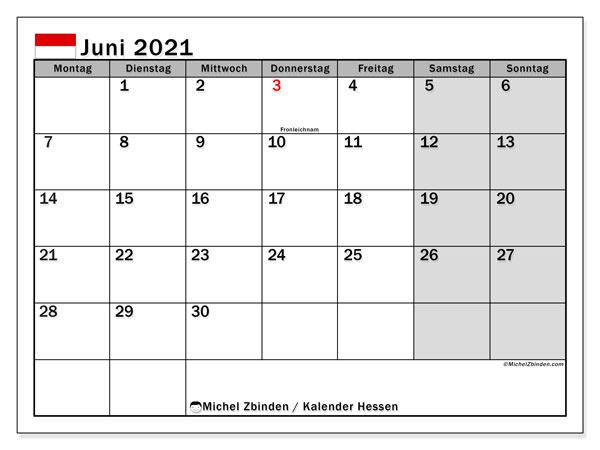 Kalender Juni 2021, mit den Feiertagen in Hessen. Kalender Feiertage frei zum ausdrucken.