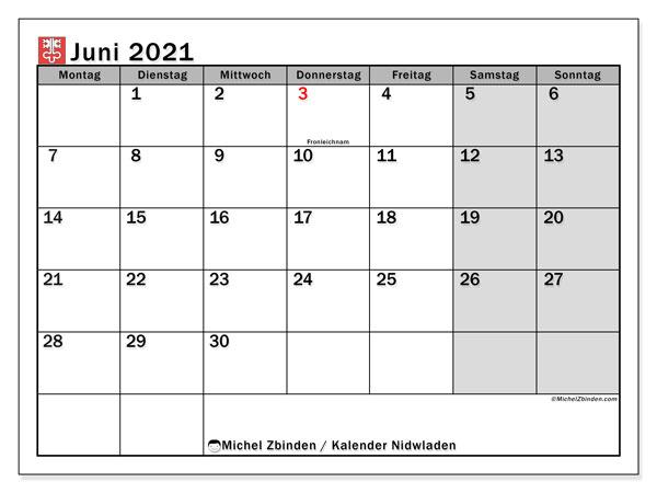 Kalender Juni 2021 - Michel Zbinden DE