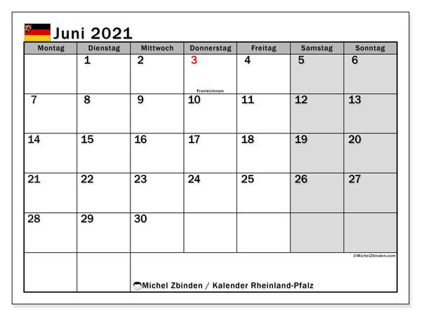 Kalender Juni 2021, mit den Feiertagen in Rheinland-Pfalz. Kalender mit Feiertagen zum kostenlosen ausdrucken.